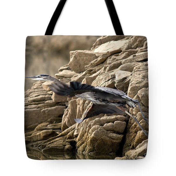 Great Blue Shoving Off Tote Bag by Douglas Stucky