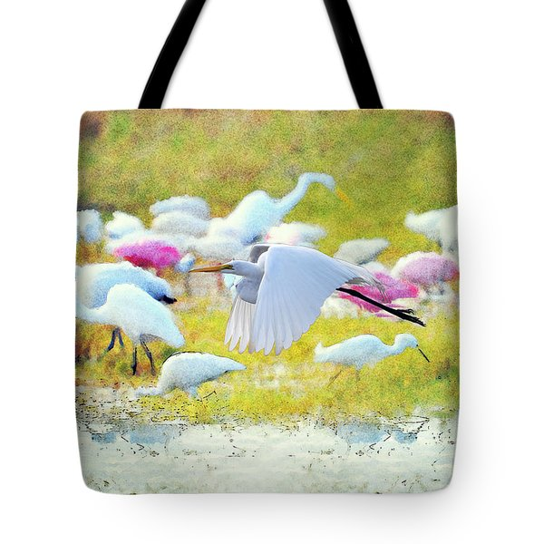 Tote Bag featuring the photograph Great Egret Flying by Dan Friend