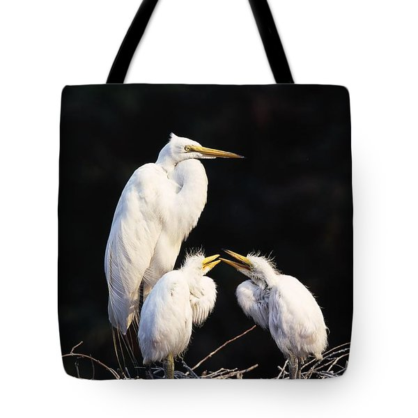 Great Egret In Nest With Young Tote Bag by Natural Selection David Ponton