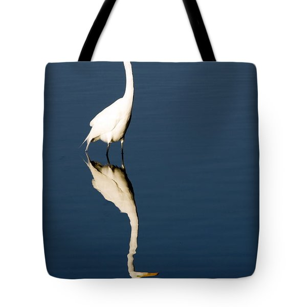 Great Egret Reflected Tote Bag by Sally Weigand