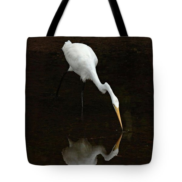 Great Egret Reflection Tote Bag by Bob Christopher