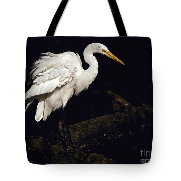 Great Egret Ruffles His Feathers Tote Bag