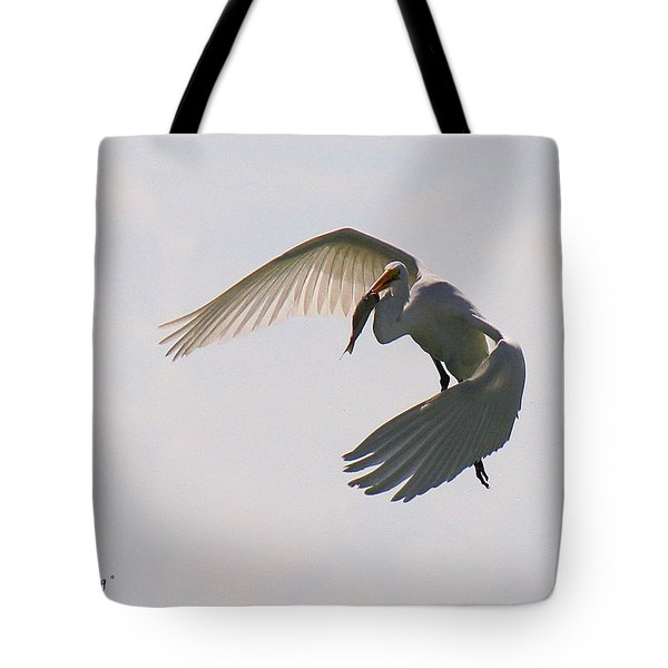 Great Egret Successful Fishing Tote Bag