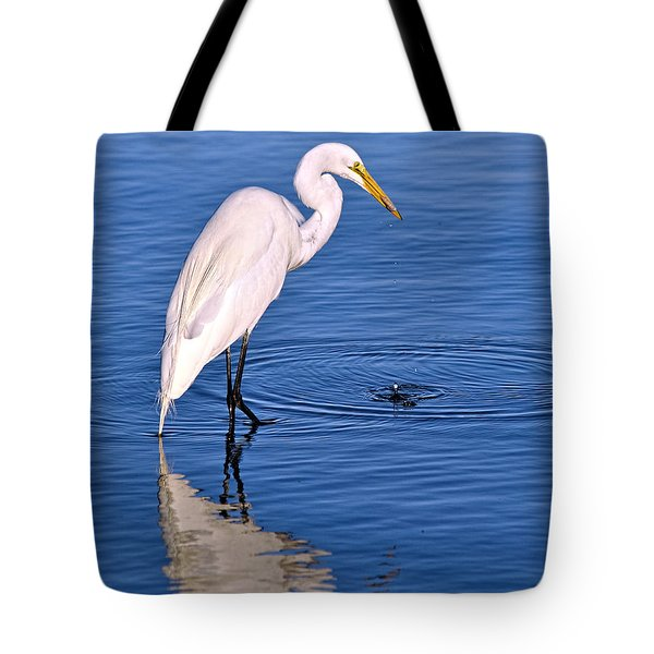 Great Egret With Shrimp Tote Bag
