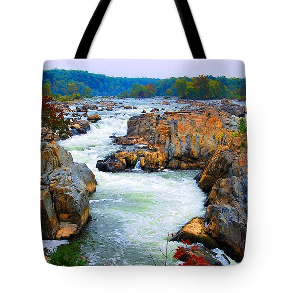 Great Falls On The Potomac River In Virginia Tote Bag by Eva Kaufman