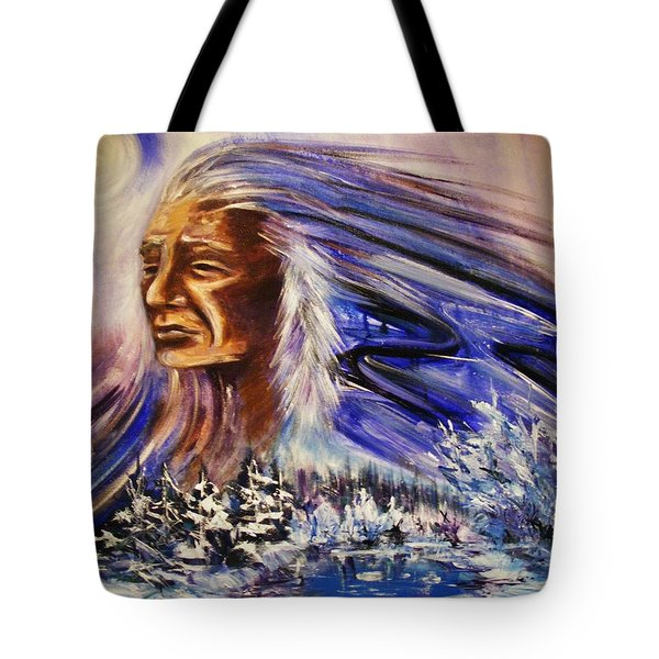 Tote Bag featuring the painting Great Father - Winter by Karen  Ferrand Carroll