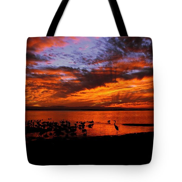 Great Heron Sunset Tote Bag