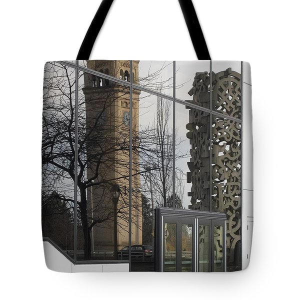 Great Northern Clocktower Reflection - Spokane Washington Tote Bag by Daniel Hagerman