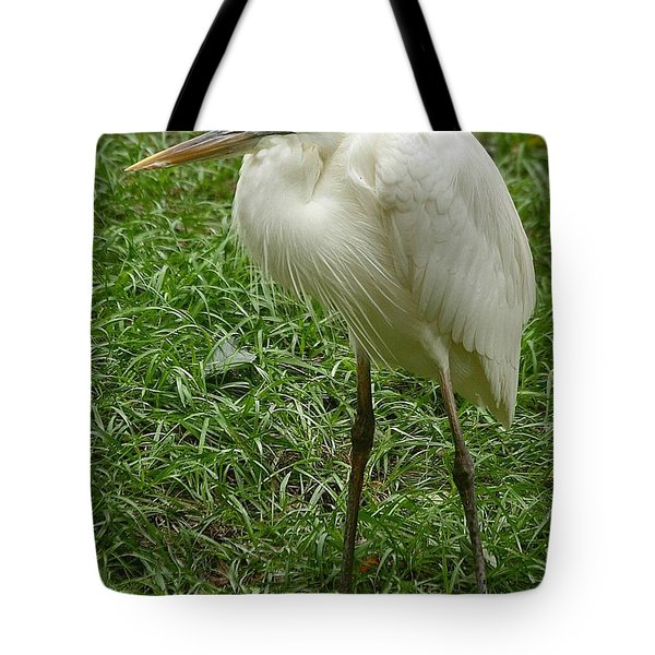 Tote Bag featuring the photograph Great White Heron by Myrna Bradshaw