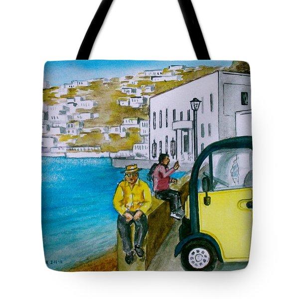 Greek Island Of Mykonis Tote Bag by Frank Hunter