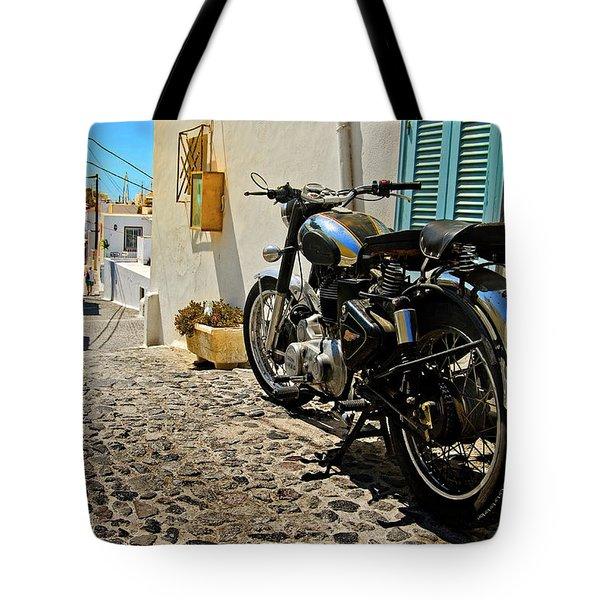 Greek Island Royal Enfield Tote Bag by Meirion Matthias