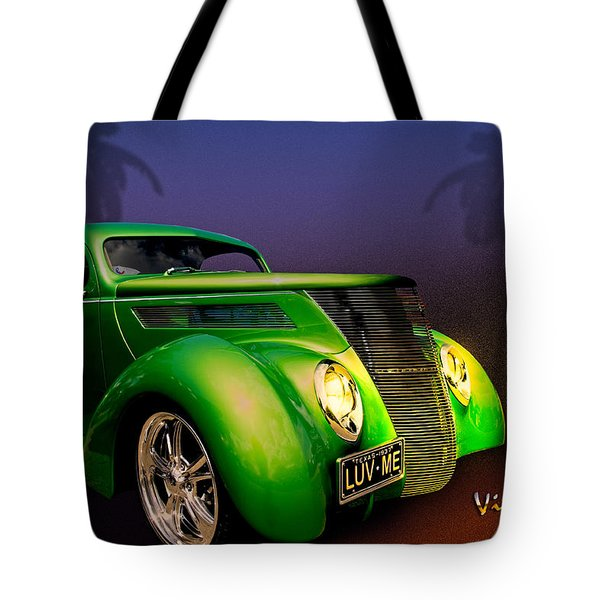 Green 37 Ford Hot Rod Decked Out For A Tropical Saint Patrick Day In South Texas Tote Bag by Chas Sinklier