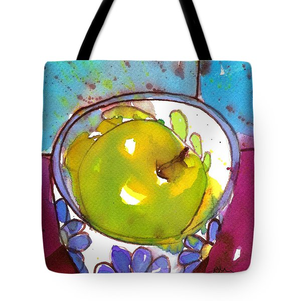 Green Apple In Blue Floral Bowl Tote Bag