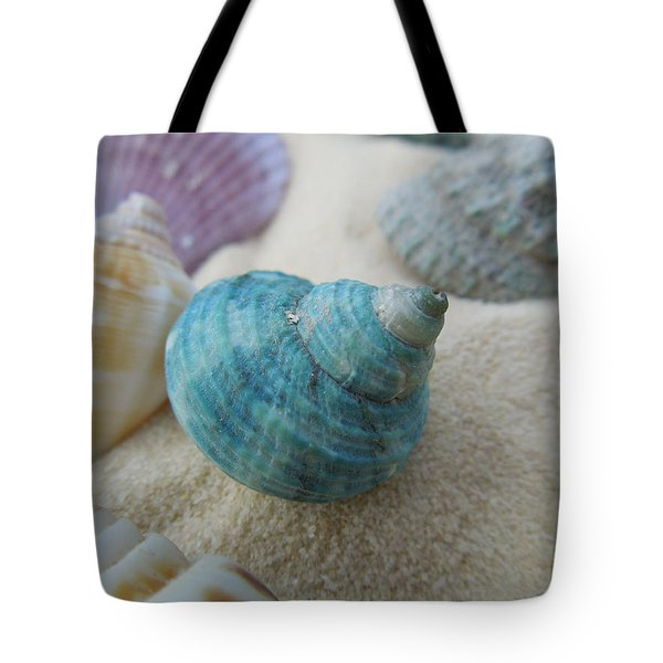 Green-blue Shell In The Sand Tote Bag