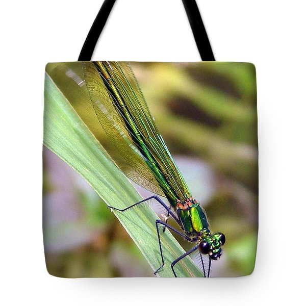 Green Damselfly Tote Bag by Ramona Johnston