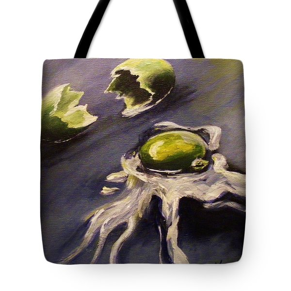 Tote Bag featuring the painting Green Eggs No Ham by Karen  Ferrand Carroll