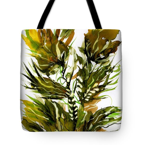 Green Flames Tote Bag by Rachel Hershkovitz