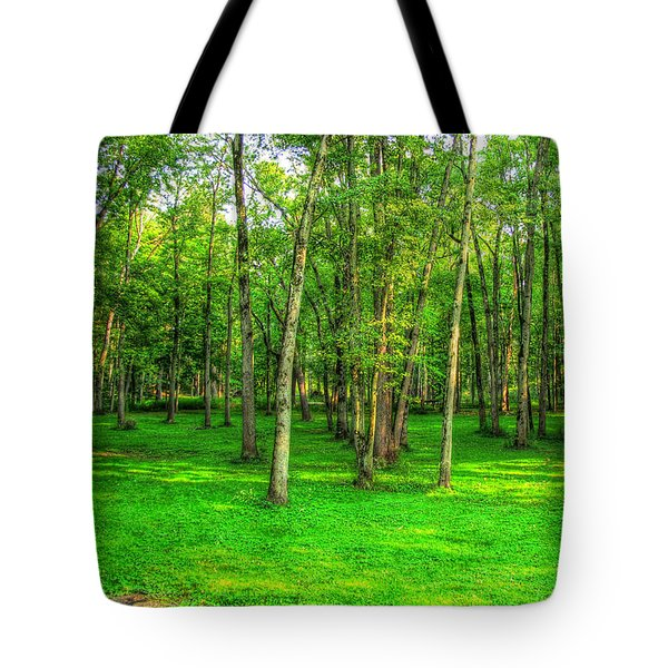 Green Floored Forest Tote Bag by Jackie Novak