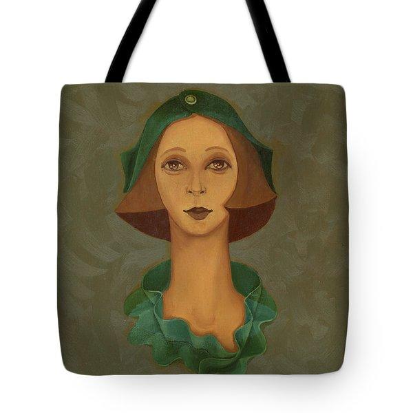 Green Hat Carre Woman Face  Tote Bag by Rachel Hershkovitz