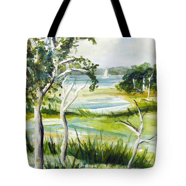 Green Land Tote Bag by Clara Sue Beym