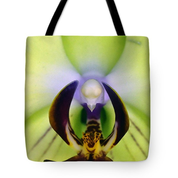 Tote Bag featuring the photograph Green Orchid Macro by Clayton Bruster