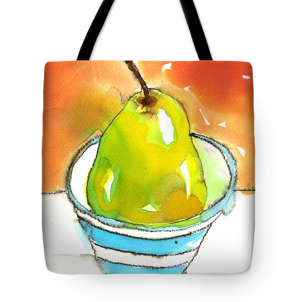 Green Pear In Blue Striped Bowl Tote Bag