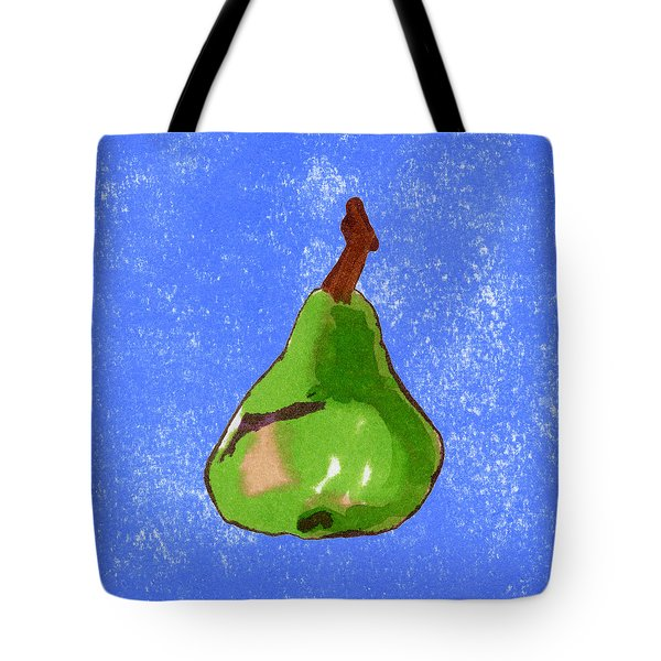 Green Pear On Blue Tote Bag by Marla Saville