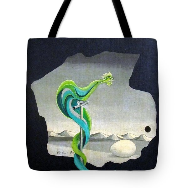 Green Rooster Call 2 In Surrealistic Frame Background Blue Tail Feathers Mountains Landscape And Egg Tote Bag by Rachel Hershkovitz