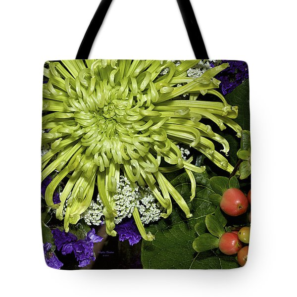 Green Spider Mum Tote Bag by Phyllis Denton