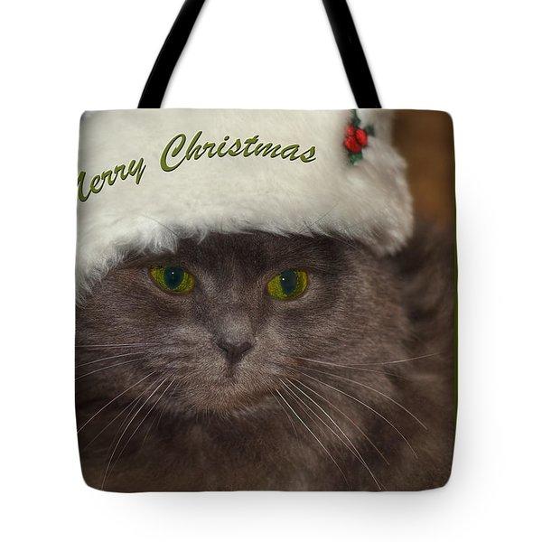 Grey Cat Santa 2 Tote Bag by Joann Vitali