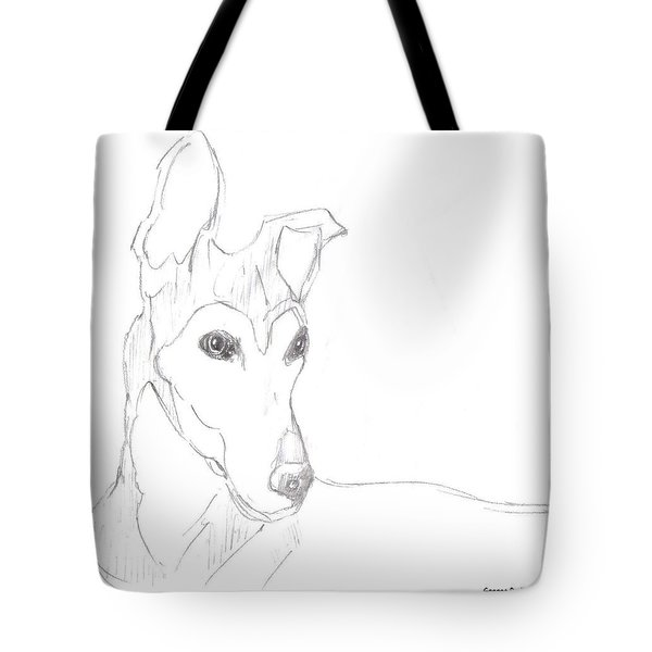 Tote Bag featuring the drawing Greyhound by George Pedro