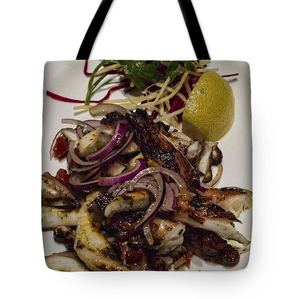 Griiled Fresh Greek Octopus Tote Bag by David Smith