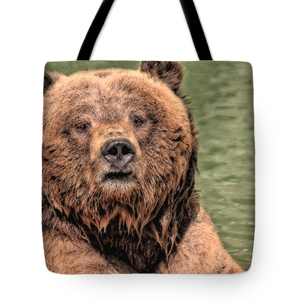 Grizz With Stick Tote Bag by Karol Livote