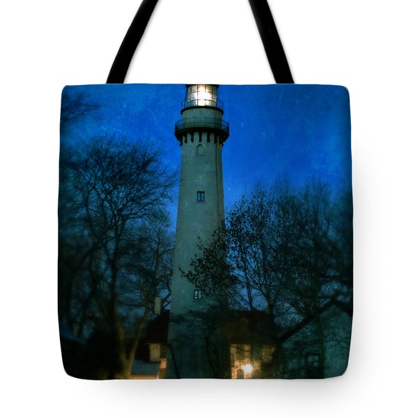 Grosse Point Lighthouse Before Dawn Tote Bag by Jill Battaglia