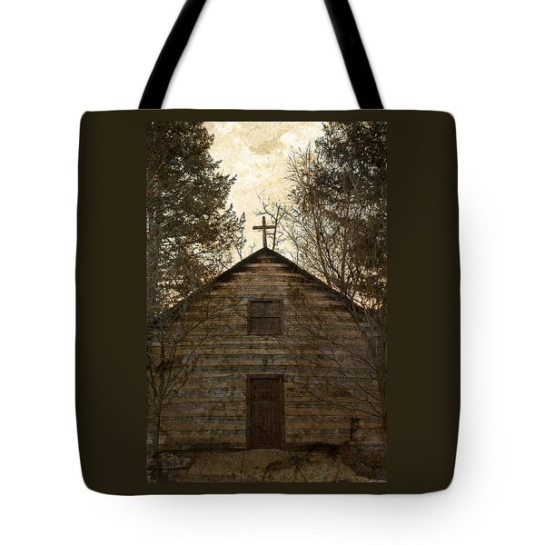 Grungy Hand Hewn Log Chapel Tote Bag by John Stephens
