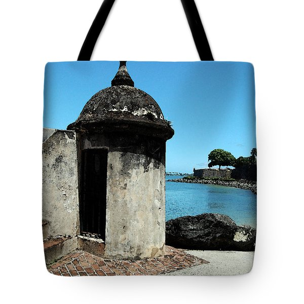 Guard Post Castillo San Felipe Del Morro San Juan Puerto Rico Watercolor Tote Bag by Shawn O'Brien