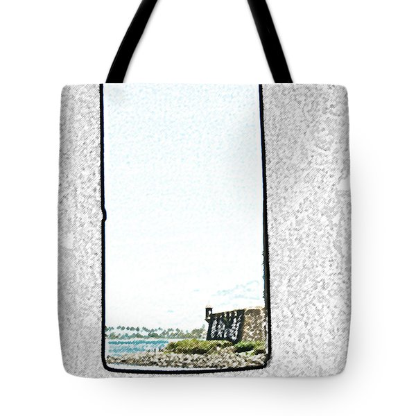Guard Tower View Castillo San Felipe Del Morro San Juan Puerto Rico Colored Pencil Tote Bag by Shawn O'Brien