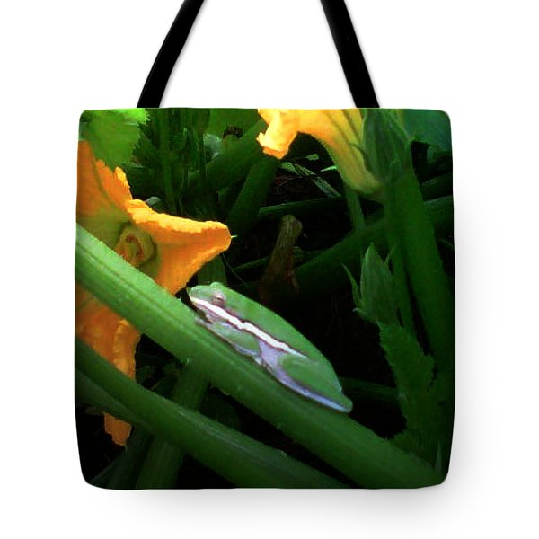Tote Bag featuring the photograph Guardian Of The Zucchini by George Pedro