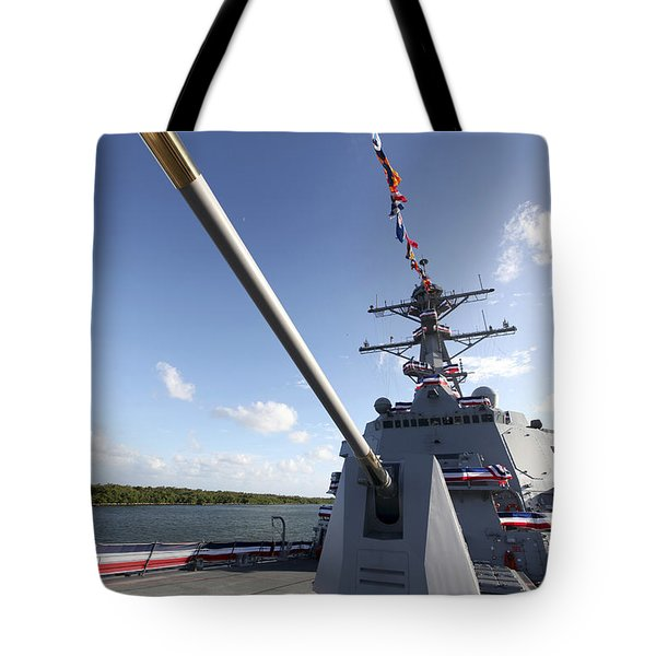 Guided-missile Destroyer Uss Jason Tote Bag by Stocktrek Images