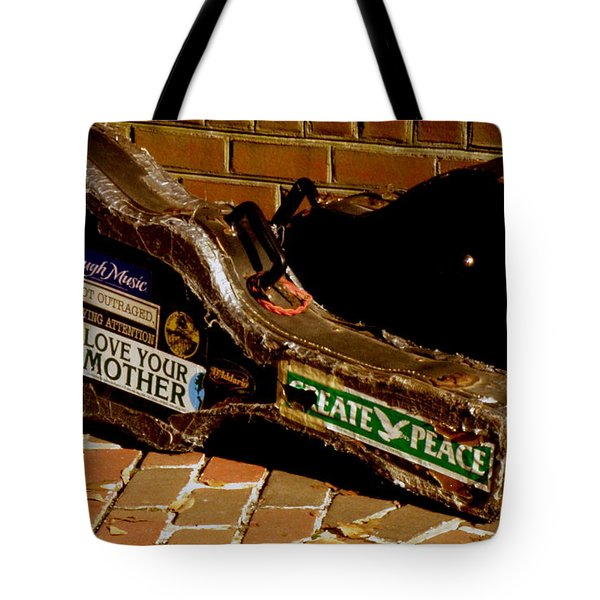 Tote Bag featuring the photograph Guitar Case Messages by Lainie Wrightson