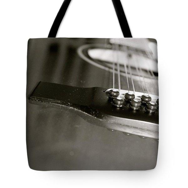 guitar close up in BW Tote Bag