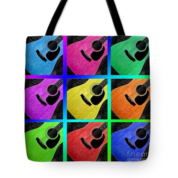 Guitar Tic Tac Toe Rainbow Tote Bag