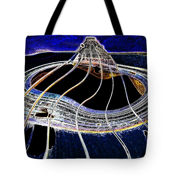 Guitar Warp Glowing Edges Tote Bag by Anne Mott