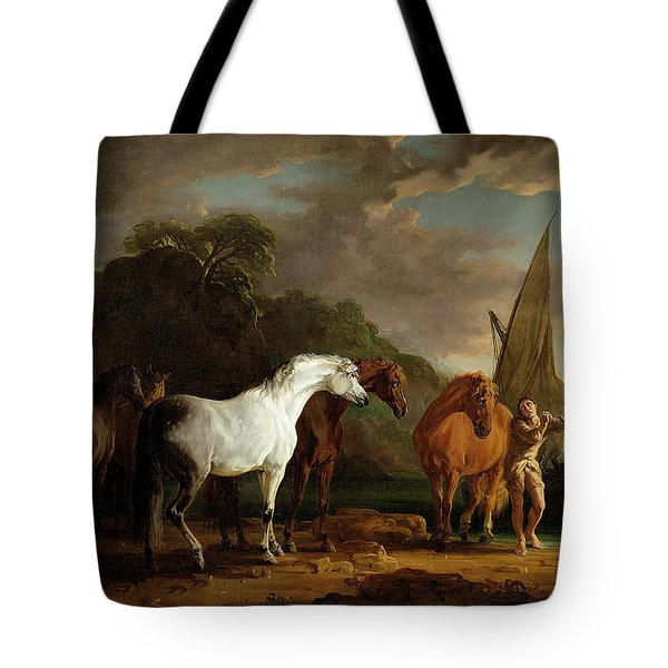 Gulliver Taking His Final Leave Of The Land Of The Houyhnhnms Tote Bag by Sawrey Gilpin