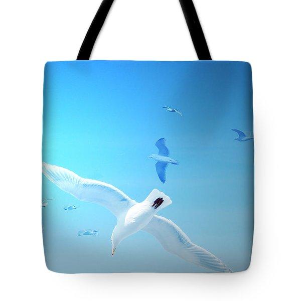 Gulls In Flight Tote Bag by Michele Cornelius