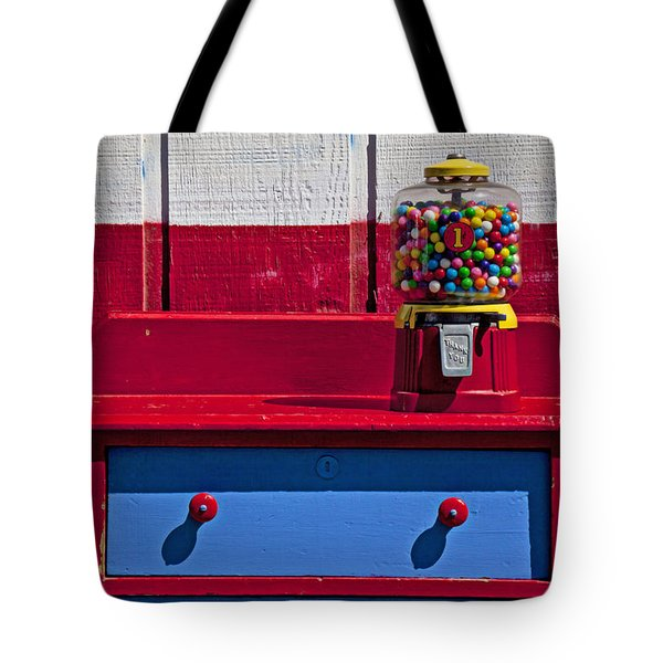 Gum Ball Machine On Red Desk Tote Bag by Garry Gay