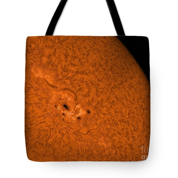 H-alpha Sun In Orange With Active Area Tote Bag by Rolf Geissinger