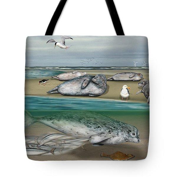 Habitat Common Seals  - Pinnipeds - Marine Mammals - Mudflat Tideland - Phoque Commun-banc De Sable  Tote Bag
