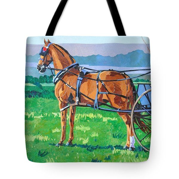 Hackney With Dog Cart Tote Bag by Alyson Champ