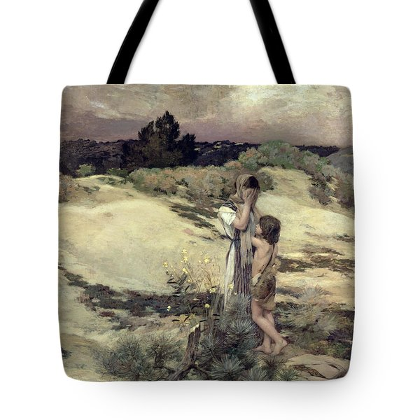 Hagar And Ishmael Tote Bag by Jean-Charles Cazin